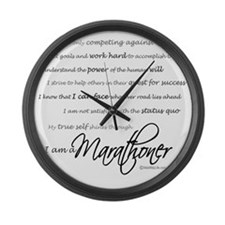 I Am a Marathoner - Script Large Wall Clock