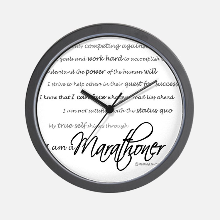 I Am a Marathoner - Script Wall Clock