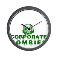 Humanity vs. Corporate Zombies - Black Wall Clock