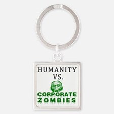 Humanity vs. Corporate Zombies - W Square Keychain