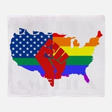 Occupy America LGBTQ - Black Throw Blanket