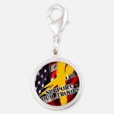 support troops button updates Silver Round Charm