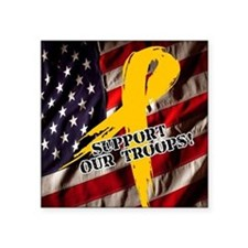 "support troops button updat Square Sticker 3"" x 3"""