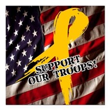 "support troops button up Square Car Magnet 3"" x 3"""