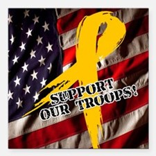 """support troops button up Square Car Magnet 3"""" x 3"""""""