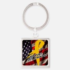 support troops button updates Square Keychain