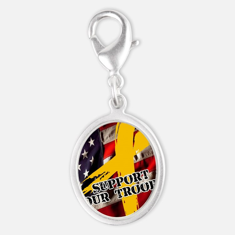 support troops button updates Silver Oval Charm