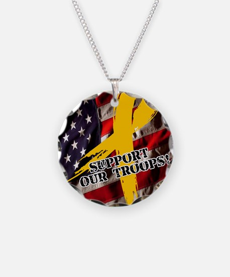 support troops button update Necklace Circle Charm