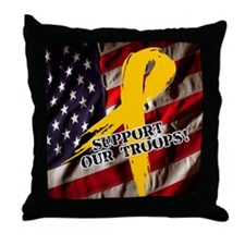 support troops button updates Throw Pillow