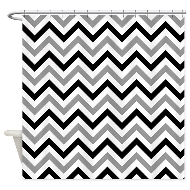 Black And Grey Chevron Shower Curtain By VeryCute