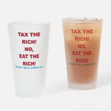 tax-eat-the-rich-white Drinking Glass