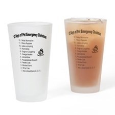 Pet Emergency Christmas Design Drinking Glass