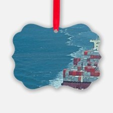 Container ship at sea. Ornament