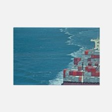 Container ship at sea. Rectangle Magnet