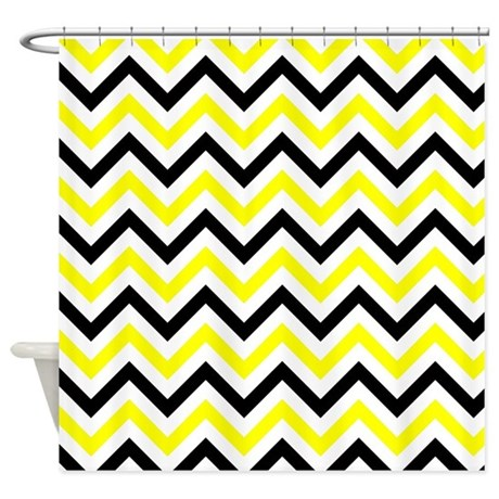 black and yellow chevron shower curtain by verycute