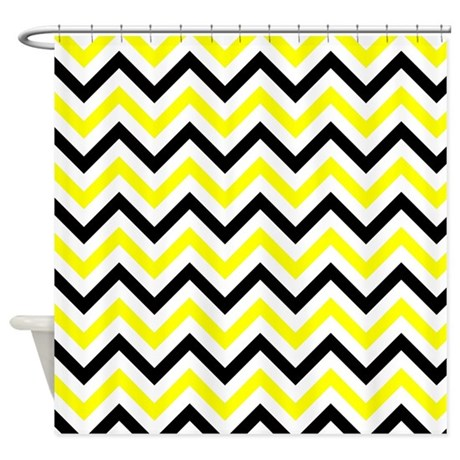 black and yellow chevron shower curtain by verycute. Black Bedroom Furniture Sets. Home Design Ideas