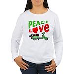 Peace Love Motor Scooter Women's Long Sleeve T-Shi