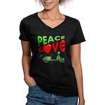 Peace Love Motor Scooter Women's V-Neck Dark T-Shi