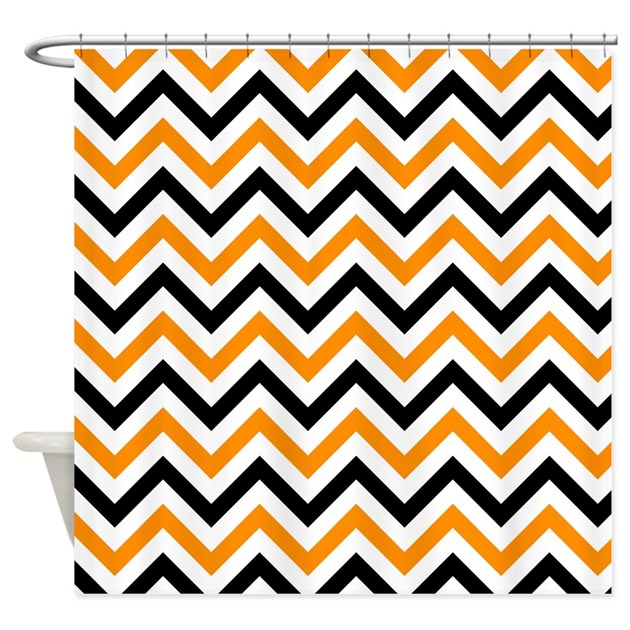 Black And Orange Chevron Shower Curtain by VeryCute
