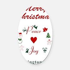 WashingtonDC_5x7_Christmas Stockin Oval Car Magnet