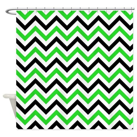 Black And Green Chevron Shower Curtain By Verycute