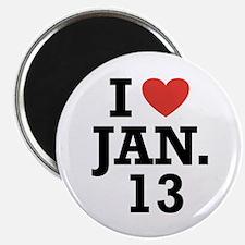 """I Heart January 13 2.25"""" Magnet (100 pack)"""