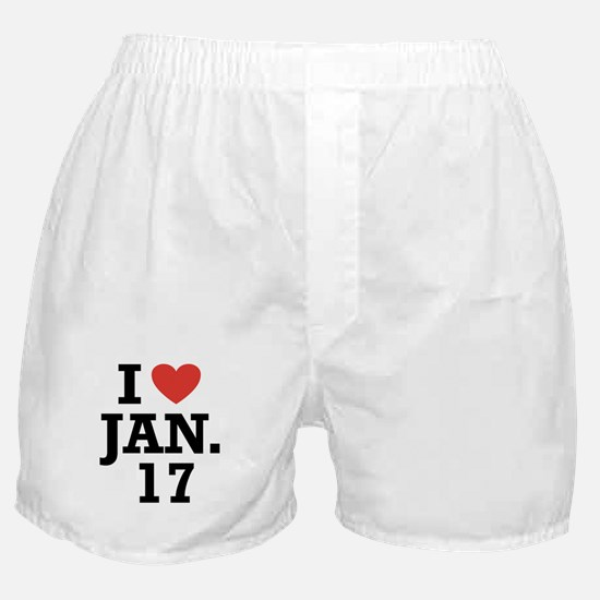 I Heart January 17 Boxer Shorts