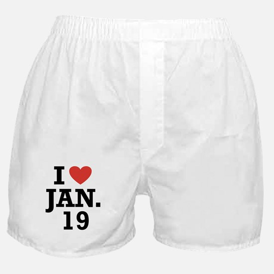 I Heart January 19 Boxer Shorts