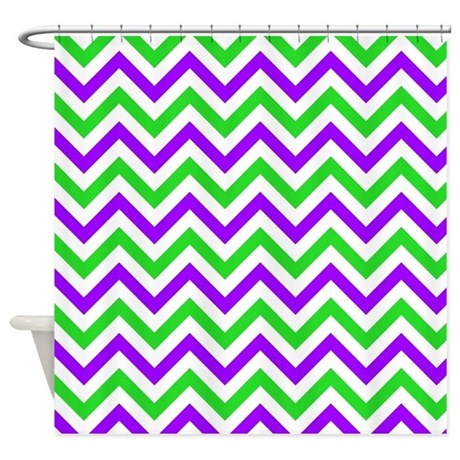 Green And Purple Chevron Shower Curtain By VeryCute