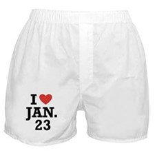 I Heart January 23 Boxer Shorts