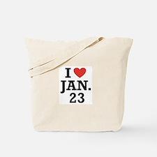 I Heart January 23 Tote Bag