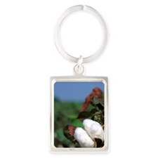 Cotton ready for harvest. Portrait Keychain