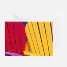 Bridgewater. Colorful adirondack cha Greeting Card