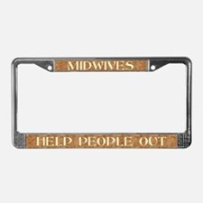Midwives Help (brown) License Plate Frame