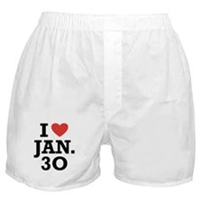 I Heart January 30 Boxer Shorts
