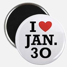 """I Heart January 30 2.25"""" Magnet (100 pack)"""