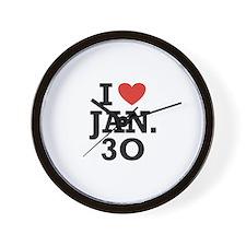 I Heart January 30 Wall Clock