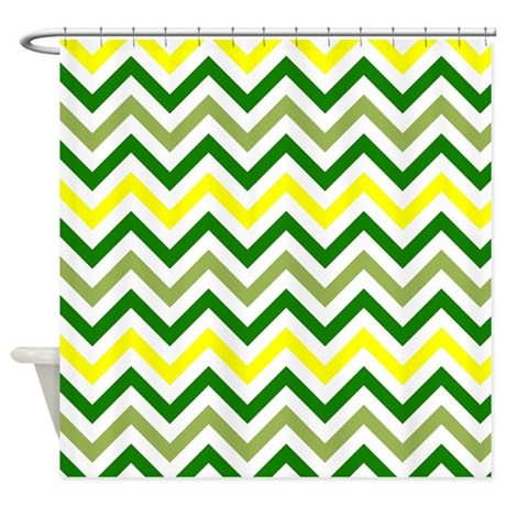 Yellow And Green Chevron Shower Curtain By VeryCute
