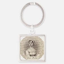 Jane Austen Portrait Square Keychain