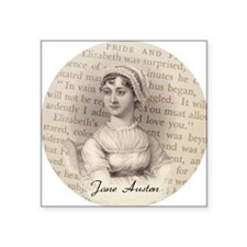 "Jane Austen Portrait Square Sticker 3"" x 3"""