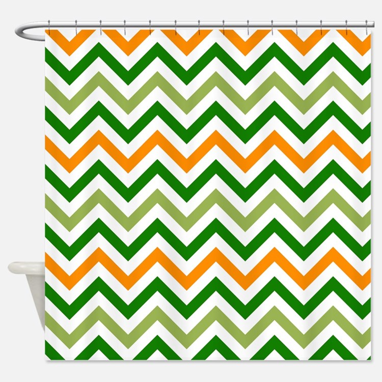 Orange Green Chevron Shower Curtains Orange Green Chevron Fabric