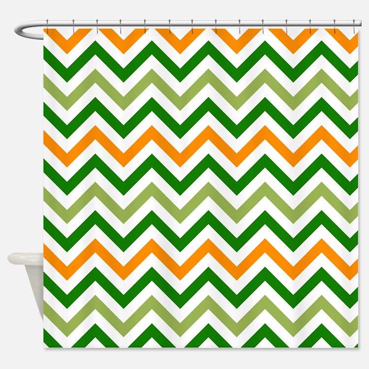 Orange Green Chevron Shower Curtains | Orange Green Chevron Fabric ...