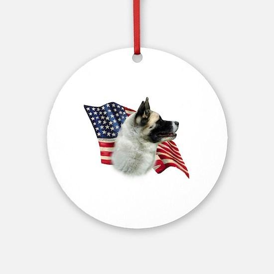 Akita Flag Ornament (Round)