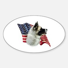 Akita Flag Oval Decal