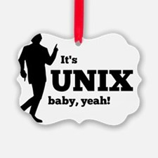 Unix Yeah Black Ornament