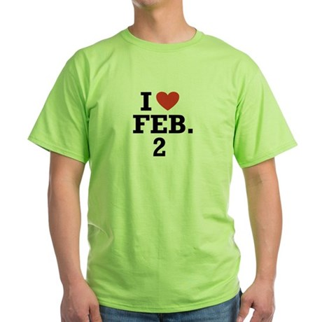 I Heart February 2 Green T-Shirt