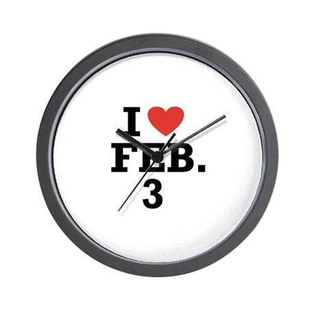 I Heart February 3 Wall Clock