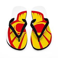 Shell Skull Red Flip Flops