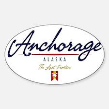 Anchorage Script W Sticker (Oval)