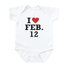 I Heart February 12 Infant Bodysuit